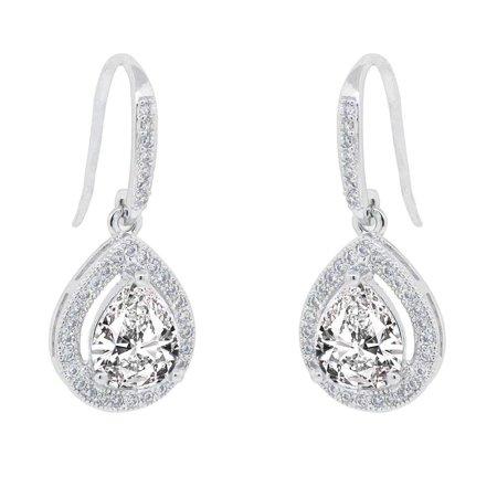 Cate & Chloe Isabel 18k White Gold Teardrop CZ Earrings, Drop Dangle-Earrings, Best Silver Earrings for Women, Girls, Ladies, Halo Drop Earrings with CZ Crystals - msrp $150