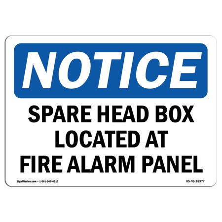 OSHA Notice Sign - Spare Head Box Located At Fire Alarm Panel | Choose from: Aluminum, Rigid Plastic or Vinyl Label Decal | Protect Your Business, Work Site, Warehouse & Shop Area | Made in the