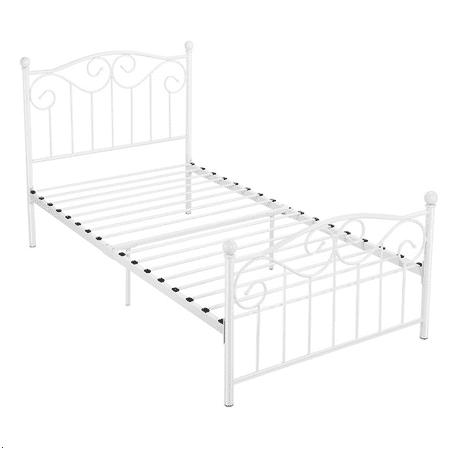 Topeakmart Single Bed Frame Metal Twin Bed Frame White ()