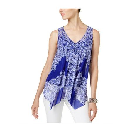 I-N-C Womens Handkerchief-Hem Knit Blouse gbplacedlace XL - image 1 of 1