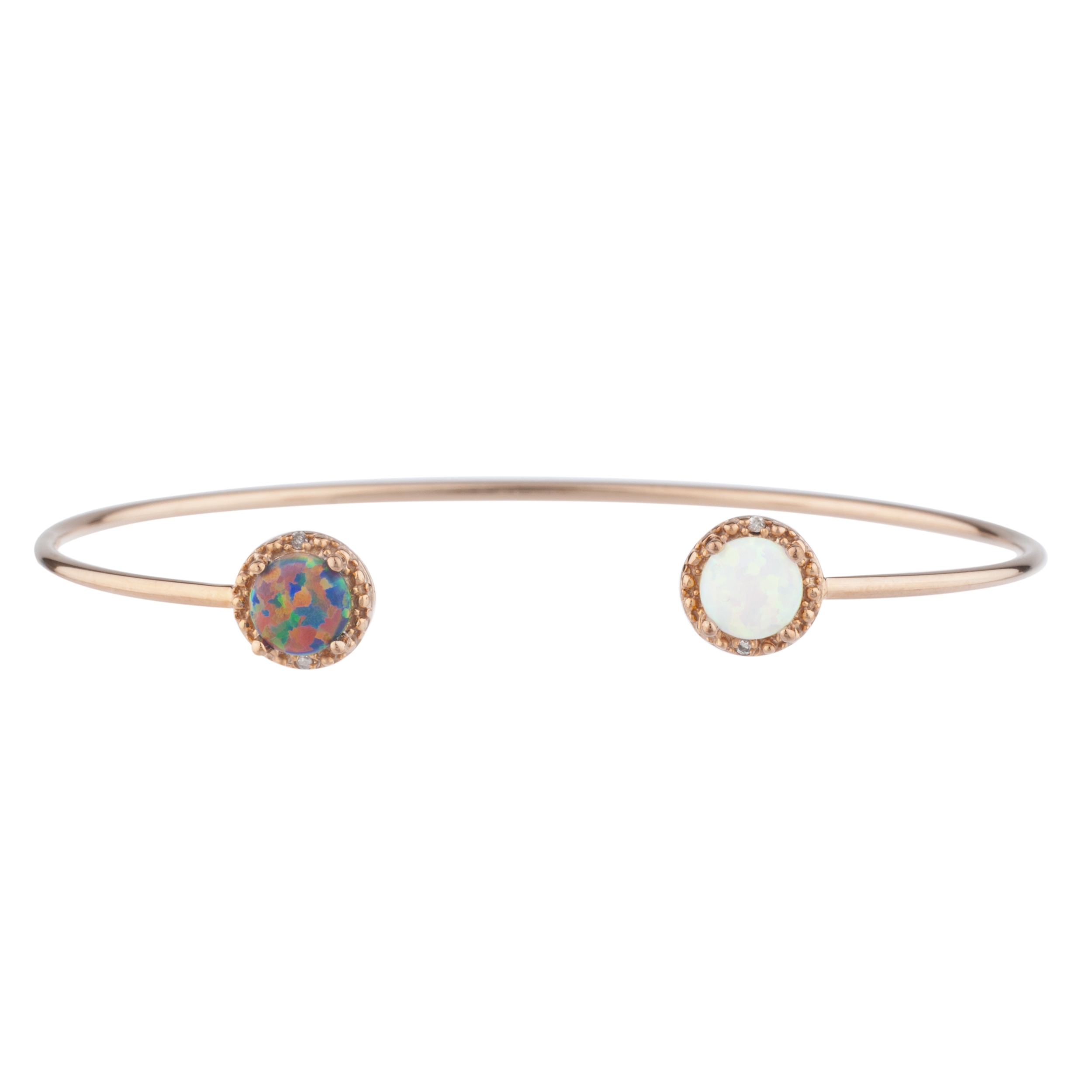 Black Opal & White Opal Diamond Bangle Round Bracelet 14Kt Rose Gold Plated Over .925 Sterling Silver by Elizabeth Jewelry Inc