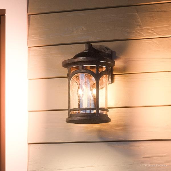 """Urban Ambiance Luxury Rustic Outdoor Wall Light, Medium Size: 14.5""""H x 9""""W, with Colonial Style Elements, Wrought Iron Design, Oil Rubbed Parisian Bronze Finish and Seeded Glass, UQL1103"""