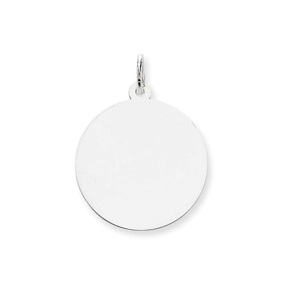 14K White Gold Engravable Polished Round Disc Charm (1.1in long x 0.9in wide)