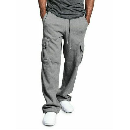 Mens Jogger Gym Heavy Weight Fleece Cargo Pocket Sweat Pants Drawstring Trousers (Mens Xxl Sweatpants)
