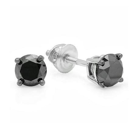 Dazzlingrock Collection 0.75 Carat (ctw) 14K Round Cut Black Diamond Ladies Stud Earrings 3/4 CT, White Gold