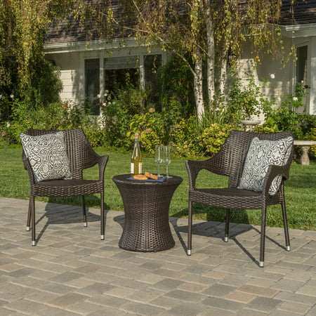 Outdoor Brown Wicker 3 Piece Chat Set with Cushions ()