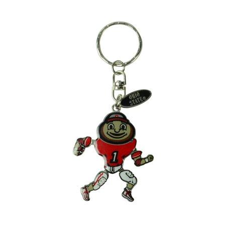 Ohio State Brutus Buckeye Team Mascot Keyring Keychain OSU Buckeyes Car Key Ring