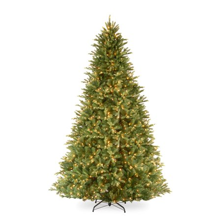 National Tree Pre-Lit 9 u0022Feel Realu0022 Tiffany Fir Hinged Artificial Christmas Tree with 1050 Clear Lights