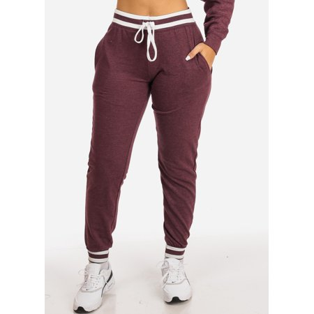 Womens Juniors Casual Burgundy Grey High Rise Drawstring Waist Stripe Detail 2 Pocket Jogger Pants 41012S
