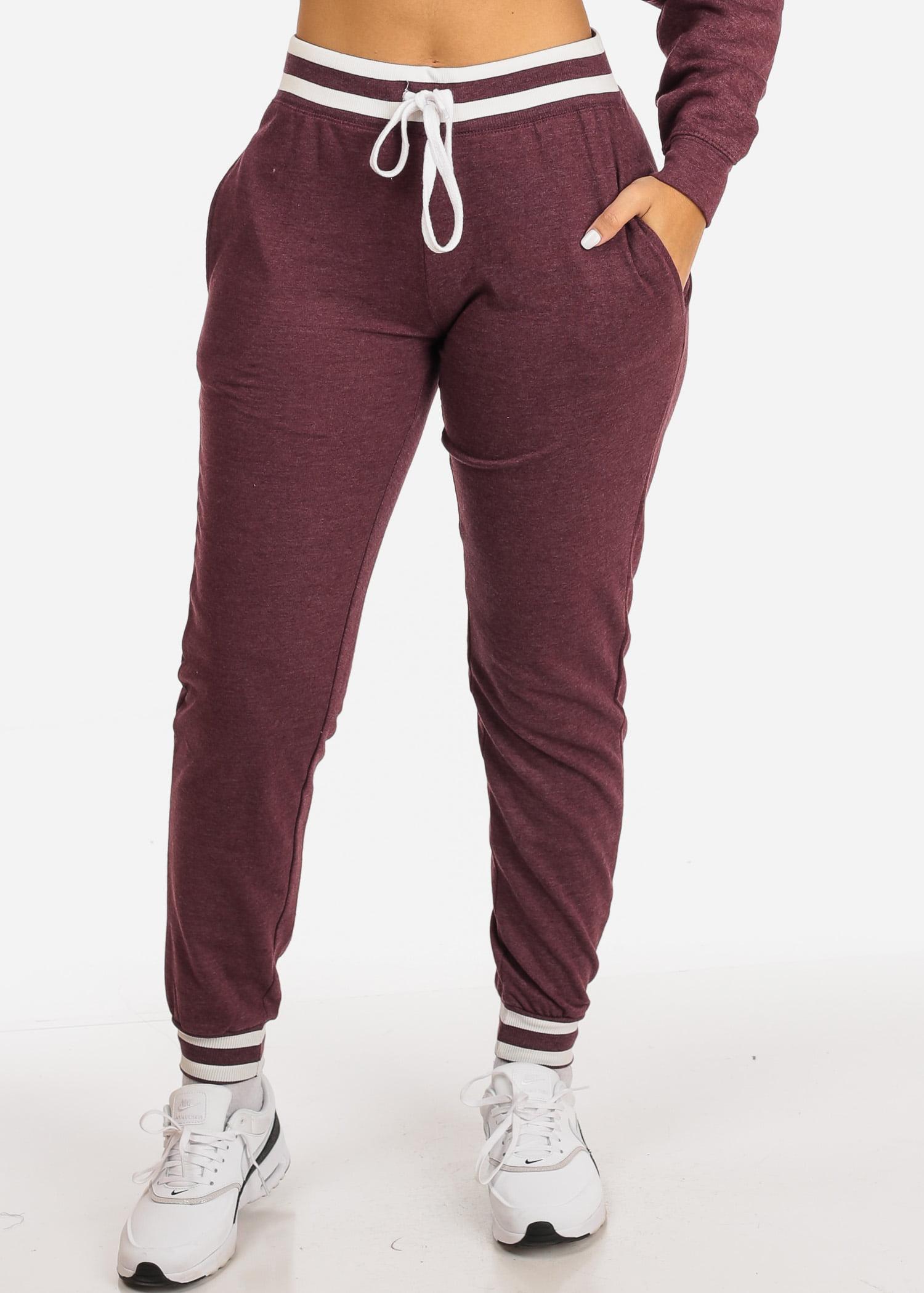 Womens Juniors Casual Burgundy Grey High Rise Drawstring Waist Stripe Detail 2 Pocket Jogger Pants 41012S