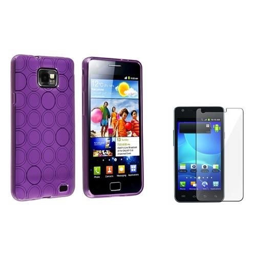 INSTEN Purple Circle TPU Gel Case+3x Clear Guard For Samsung Galaxy S2 i777 (Designed for Galaxy S2 i777 AT&T ONLY)