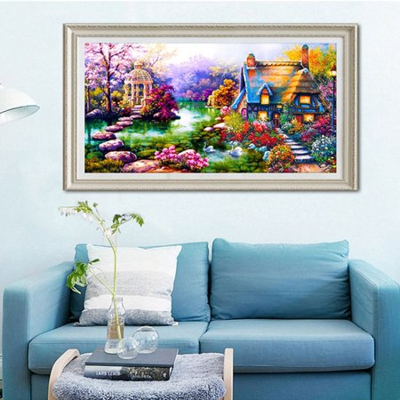 (DIY 5D Diamond Mosaic Landscapes Garden Lodge Painting Cross Stitch Kits Diamonds Embroidery Picture For Home Decoration)