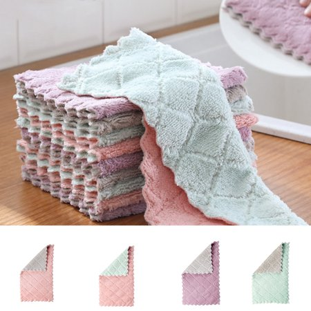 Electronicheart Double Colors Rag Dish Cloth Water Absorption Thickening Pot Washing Towel Table Home Kitchen Dishcloth - image 2 de 8