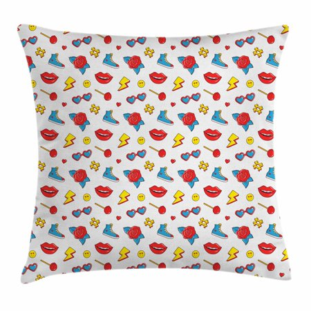 Emoji Throw Pillow Cushion Cover, Hipster Pop Art Theme 90s Fashion Comic Book Figures Lollipop Shoes Lips Roses, Decorative Square Accent Pillow Case, 16 X 16 Inches, Yellow Red Blue, by Ambesonne (90s Themed Food)