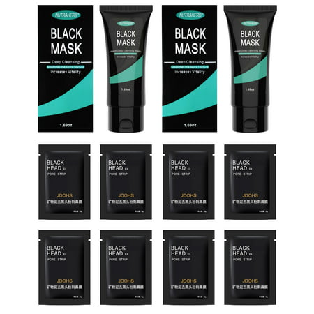 Blackhead Remover Mask (2 Blackhead Mask + 8 Pore Strips) Peel Off Charcoal Facial Black Mask That Is Great For Deep Cleansing Blackheads, Whitehead, Clogged Pores, Pimples and Acne Treatment On