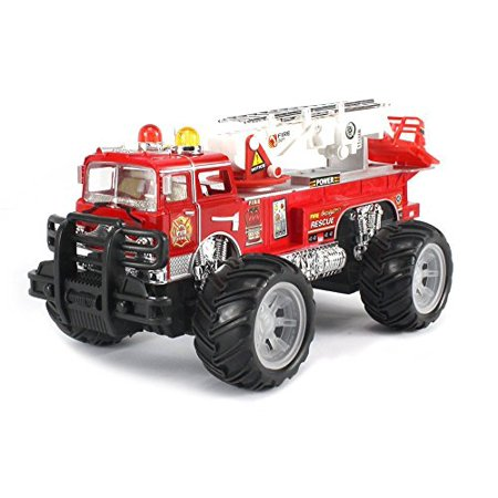 Mfd Fire Off Road Rescue Electric Rc Monster Truck Ready To Run Rtr W  Adjustable Rescue Crane  Extending Ladder  Working Siren Lights And Sound