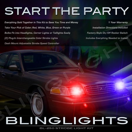 Police Car Lamp - Lincoln Town Car Strobe Police Light Kit for Headlamps Headlights Head Lamps Strobes Lights
