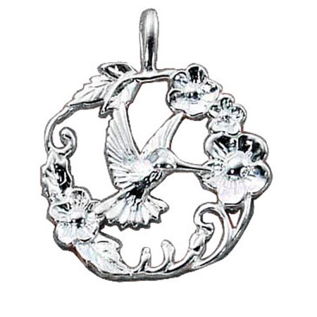 "Sterling Silver 16"" .8mm Box Chain Hummingbird Pendant Necklace"