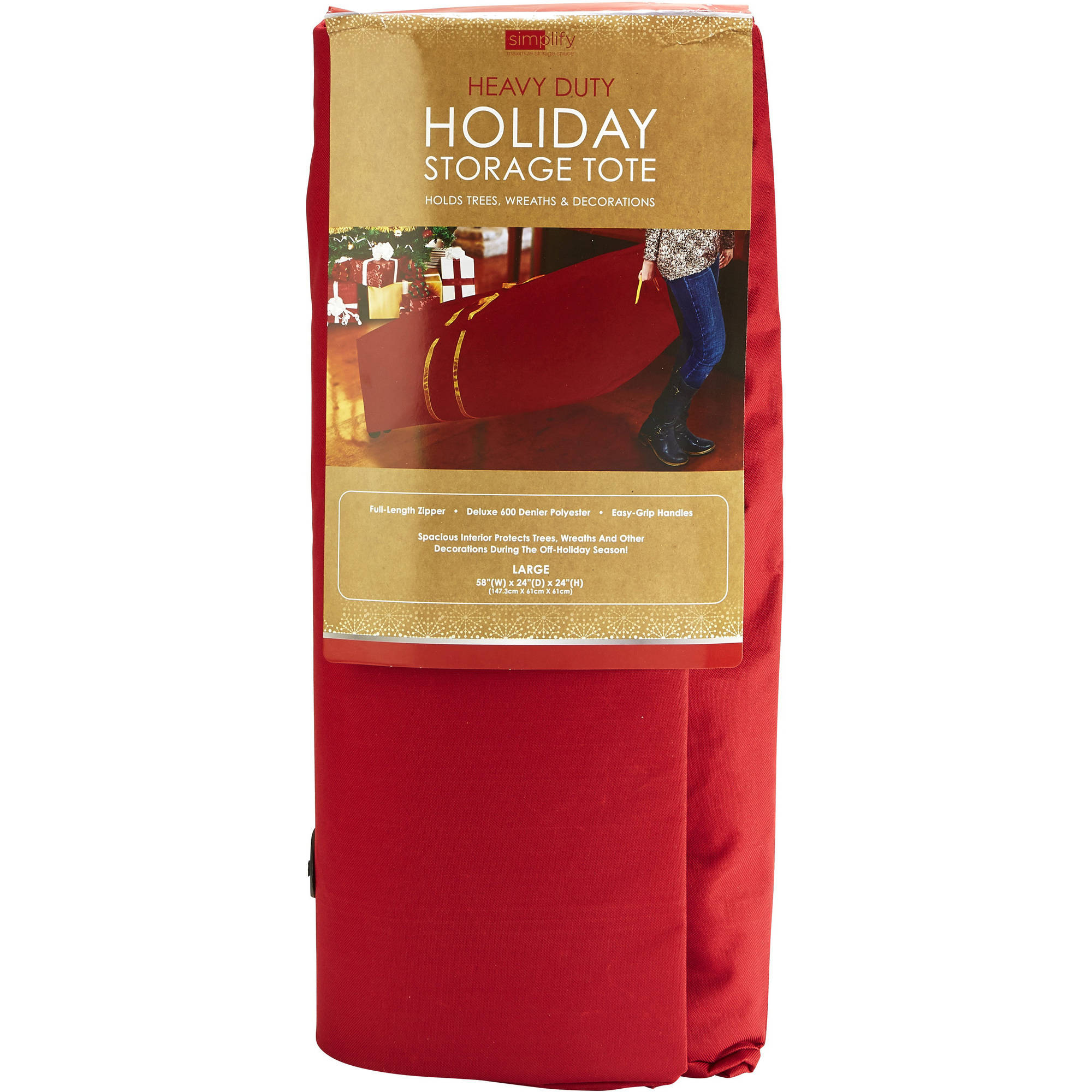 Simplify Christmas Tree Supreme Storage Bag with Wheels, Large, Red