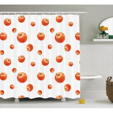 Apple Shower Curtain, Watercolor Style Cameo Apples Abstract Kitchen Elements Brush Stroke Effects, Fabric Bathroom Set with Hooks, 69W X 70L Inches, Vermilion White, by (Strobe Effect)