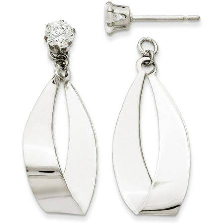 - CZ 14kt White Gold Polished Oval Dangle Stud Earring Jackets