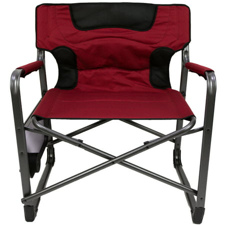 Ozark Trail XXL Folding Padded Director Chair with Side Table, Red 600 lb