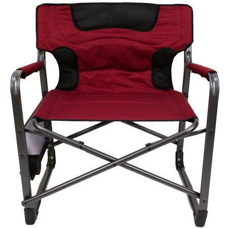 Ozark Trail XXL Folding Padded Director Chair with Side Table, Red 500 lb capacity ()
