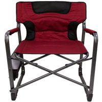 Ozark Trail XXL Folding Padded Director Chair with Side Table, Red 500 lb capacity