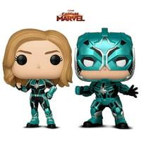 Warp Gadgets Bundle - Funko Pop Marvel Captain Marvel - Vers and Star Commander (2 Items)
