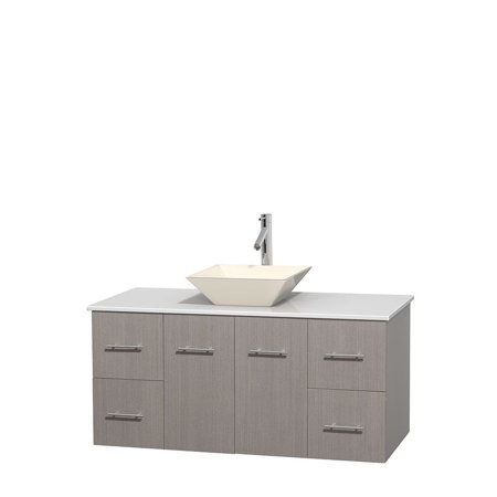 Wyndham Collection Centra 48 inch Single Bathroom Vanity in Gray Oak, White Man-Made Stone Countertop, Pyra Bone Porcelain Sink, and No (Best Stone For Bathroom Countertop)