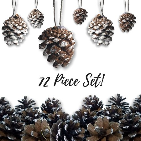 Pine Cone Ornaments - Set of 72 Small Brown Ornaments with Frosted, Snow Covered Tips - Christmas Hanging Pinecone Ornaments - Snow-Covered Pine-Cones By Banberry Designs Ship from US