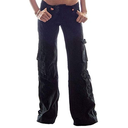 Utowu Womens Army Cargo Trousers Loose Sports Combat Long Straight Multi-Pockets Pants