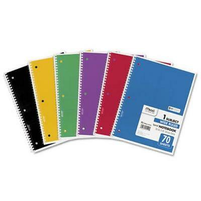 Mead Spiral Bound 1 Subject Notebook, Wide Ruled, 70 Sheets ,2PK