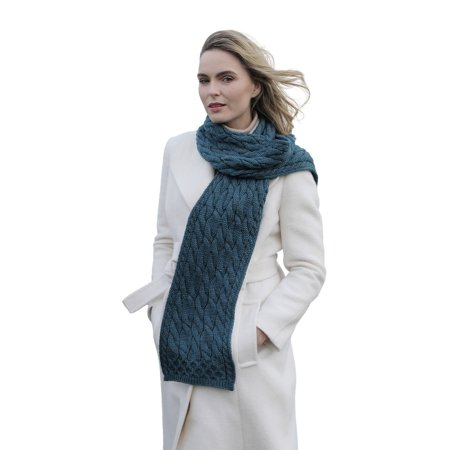 Aran Woollen Mills Women Irish Super Soft Merino Wool Cable Scarf Womens Irish Cable