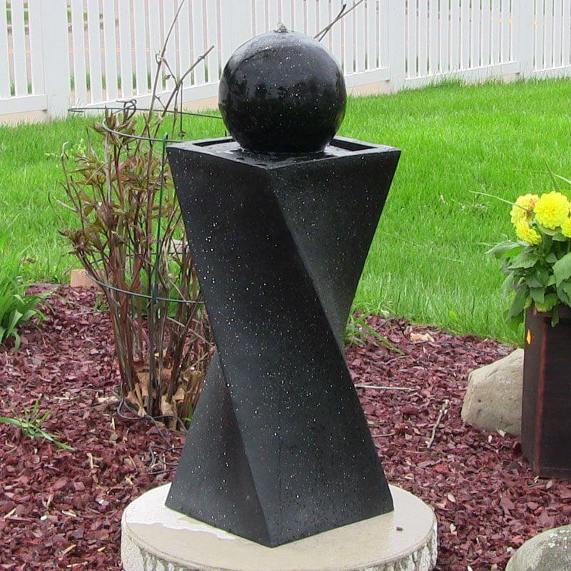 Sunnydaze Black Ball Solar On Demand Fountain with LED Light, 819804010166