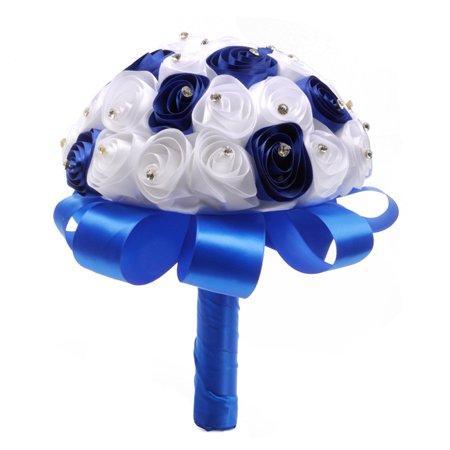 Crystal Roses Pearl Bridesmaid warm Weddings Bouquet Bridal Artificial Silk Flowers BU