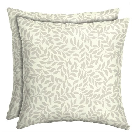 Better Homes & Gardens Ivory Leaf 16 in. Square Outdoor Toss Pillow - Set of 2 Accessories Square Toss Pillow