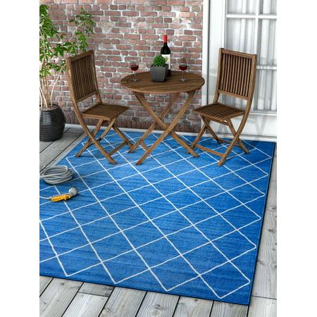 Well Woven Kings Court Clover 5' x 7' Modern Geometric Lattice Trellis Blue Non-Slip Indoor/Outdoor Area (Court Octagonal Rug)