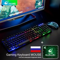 T5 Rainbow Backlight Usb Ergonomic Gaming English Russian fashion Keyboard And Mouse Set