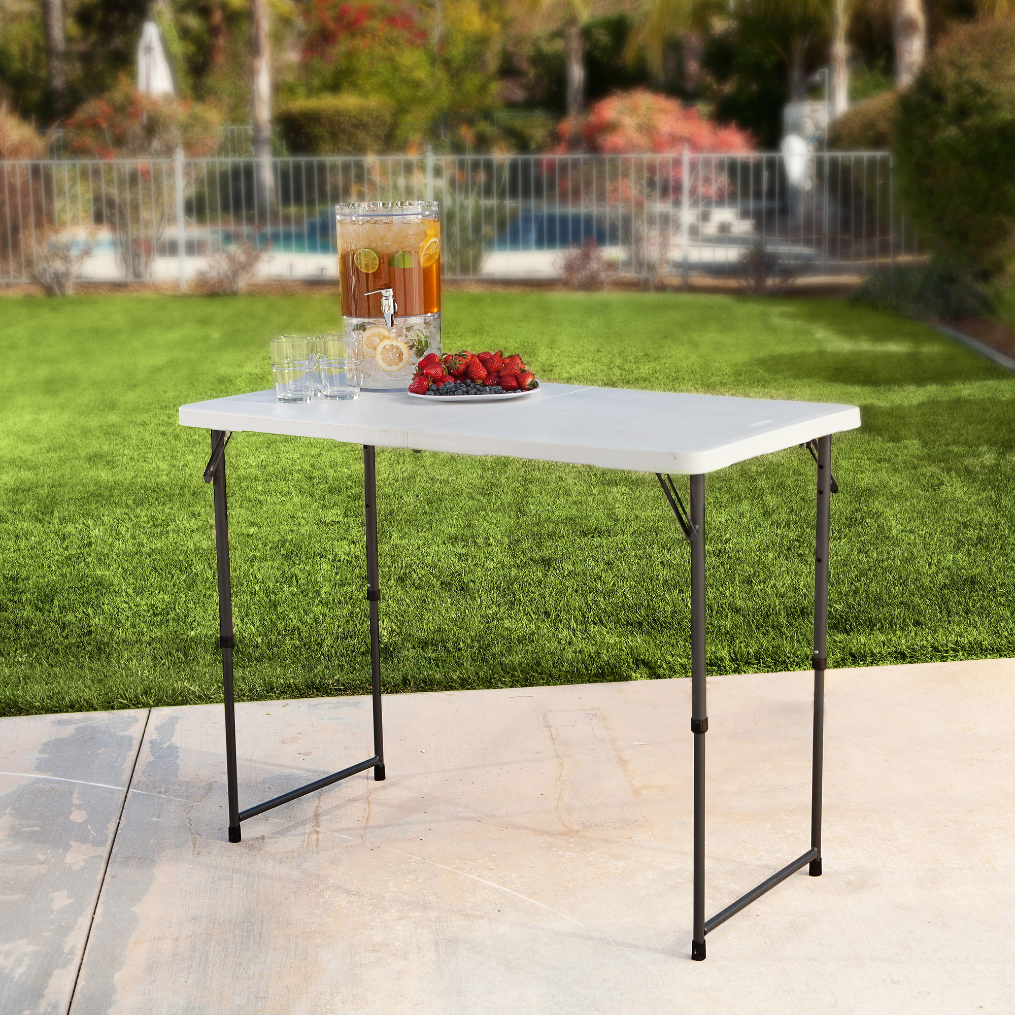 Lifetime 4' Fold-In-Half Adjustable Table, White Granite