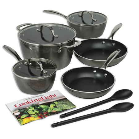 Cooking Light Inspire 10 Piece Non-Stick Cookware Set, Dishwasher Safe and Oven Safe Pots and Pans, Steam Vented Glass Lids, 2 Nylon Tools Included, Gray/Gunmetal