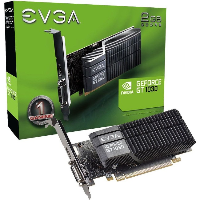 EVGA GeForce GT 1030 SC 2GB Passive Cooling Low Profile Graphics Card