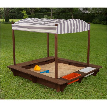 Kidkraft Backyard Sandbox kidkraft outdoor sandbox with canopy, grey and white - walmart