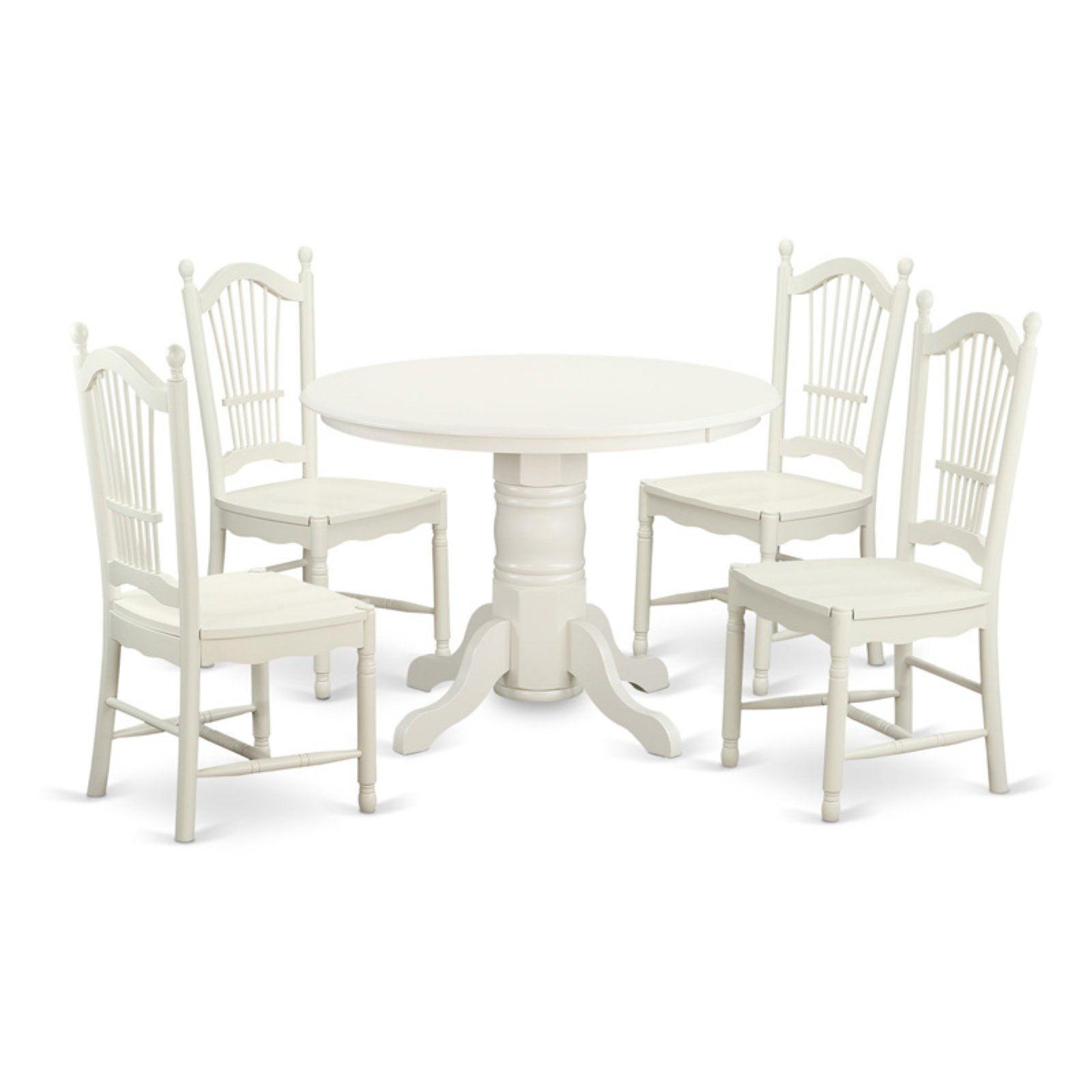 east west furniture shelton 5 piece sheaf dining table set