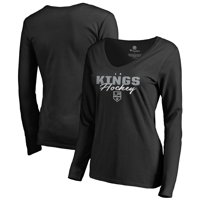 Los Angeles Kings Fanatics Branded Women's Iconic Collection Script Assist Long Sleeve V-Neck T-Shirt - Black