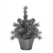8 led lighted battery operated table top silver tinsel potted christmas tree polar white - White Christmas Tree Lights