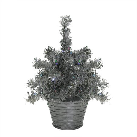 8 Quot Led Lighted Battery Operated Table Top Silver Tinsel