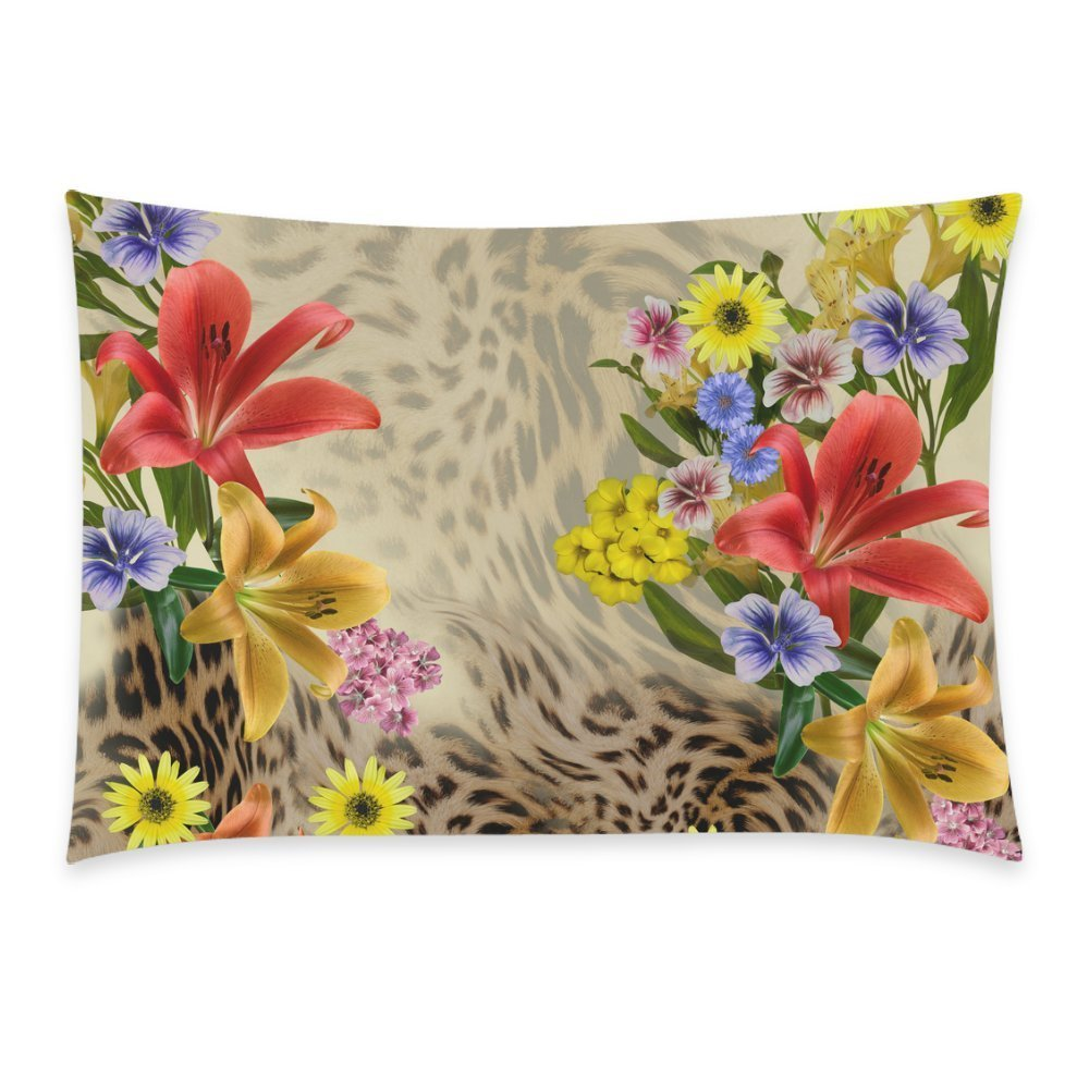ZKGK Leopard Print Home Decor, Beauty Flower Soft Pillowcase 20 x 30 Inches,Animal Theme... by ZKGK
