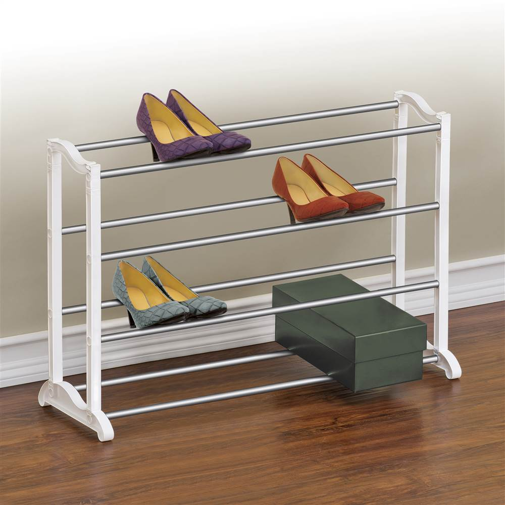 Lynk 20 Pair Shoe Rack - 4 Tier - Shoe Shelf Organizer - White