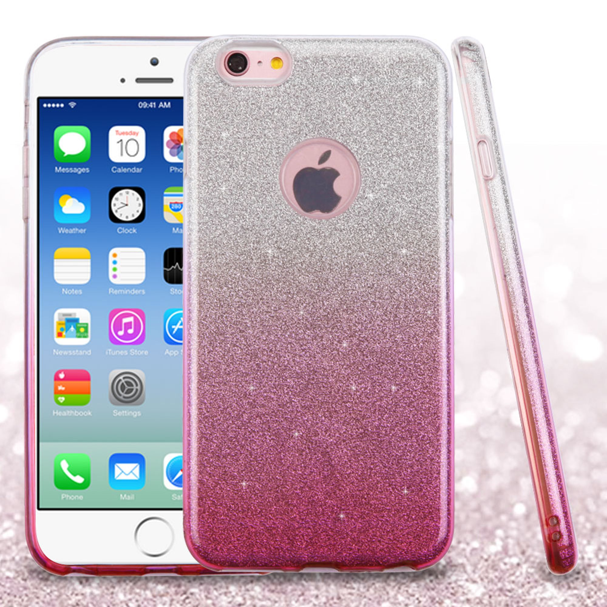 ASMYNA Hard Dual Layer Glitter TPU Case For Apple iPhone 6 / 6s - Pink